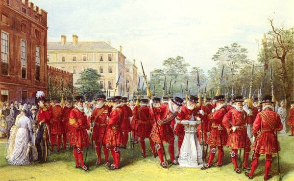British 1828 to 1902 The Parade Of The Yeomen Of The Guard At Clarence House SnD 18889 pencil watercolor and gouache on paper 46